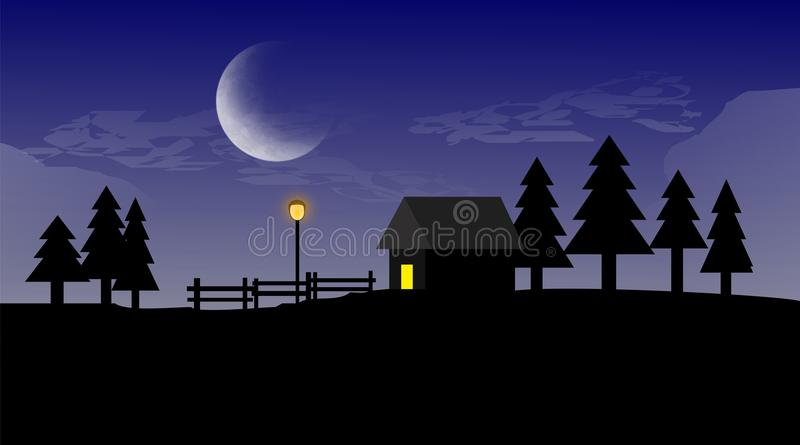 Een vlak Landschappenhuis in Nacht stock fotografie