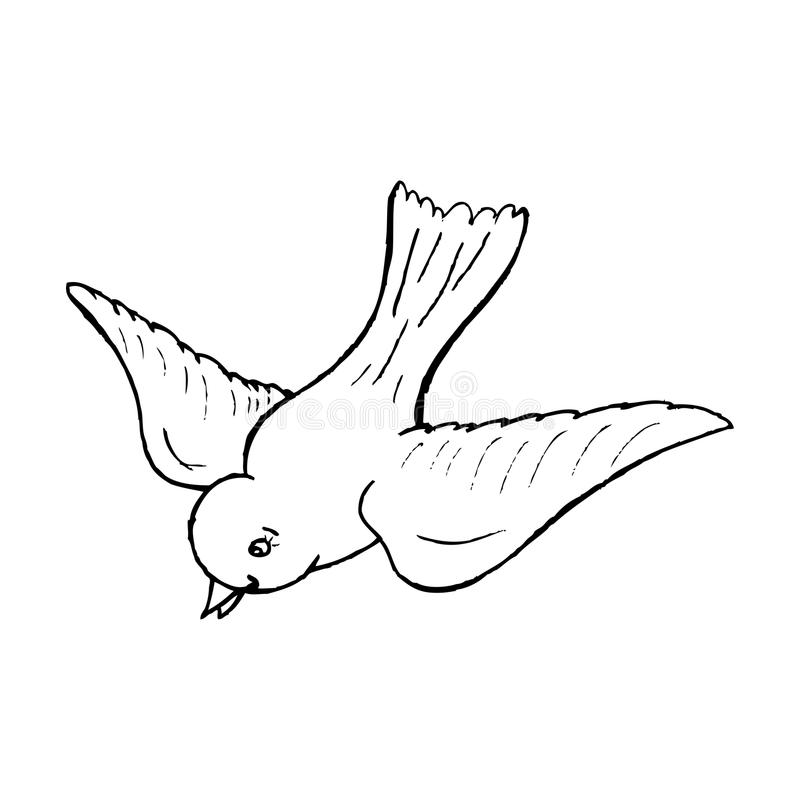 how to draw a bird flying in the air
