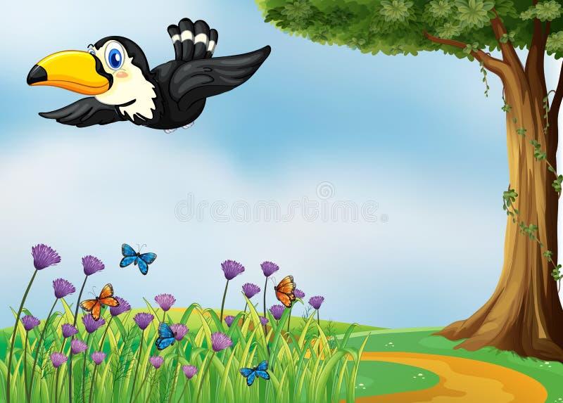 Een vliegende vogel stock illustratie