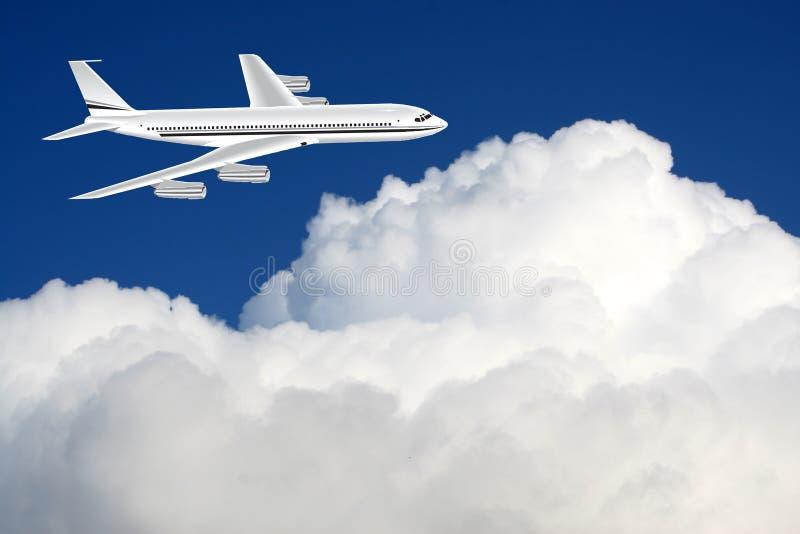 Een vliegtuig in de hemel royalty-vrije illustratie