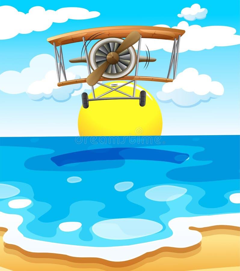 Een vliegtuig die boven het overzees vliegen royalty-vrije illustratie