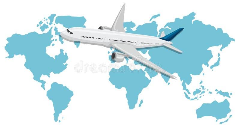 Een Vliegtuig die over Wereldkaart vliegen stock illustratie