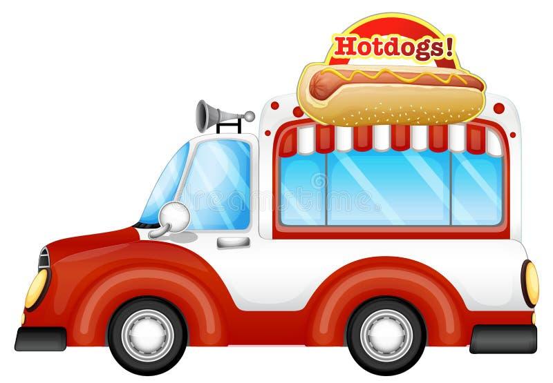 Een voertuig verkopende hotdogs stock illustratie