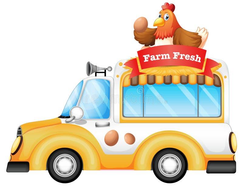 Een voertuig verkopende verse landbouwproducten vector illustratie