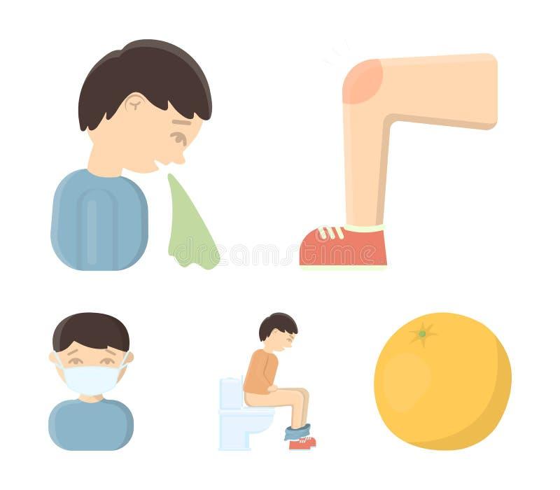 Een voet met een kneuzing in de knie, niezende zieken, een mensenzitting op het toilet, een mens in een medisch masker Geplaatste royalty-vrije illustratie