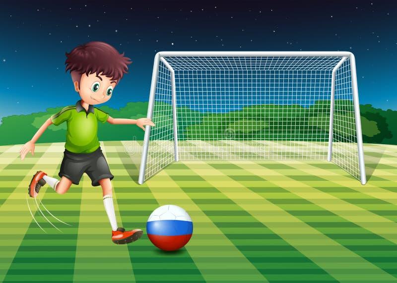 Een voetballer van Rusland die de bal schoppen vector illustratie