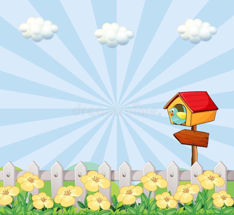 Een vogel bij het vogelhuis dichtbij de houten omheining stock illustratie
