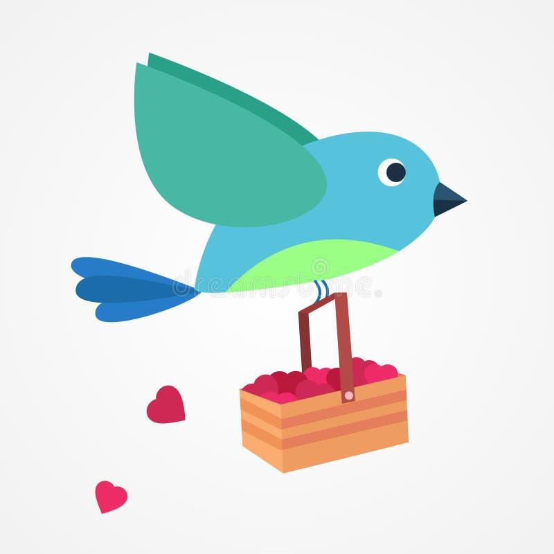Een Vogel brengt liefde voor liefdedag stock afbeelding