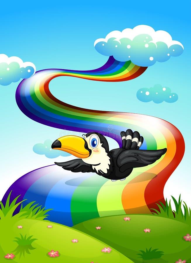Een vogel die dichtbij de regenboog vliegen vector illustratie