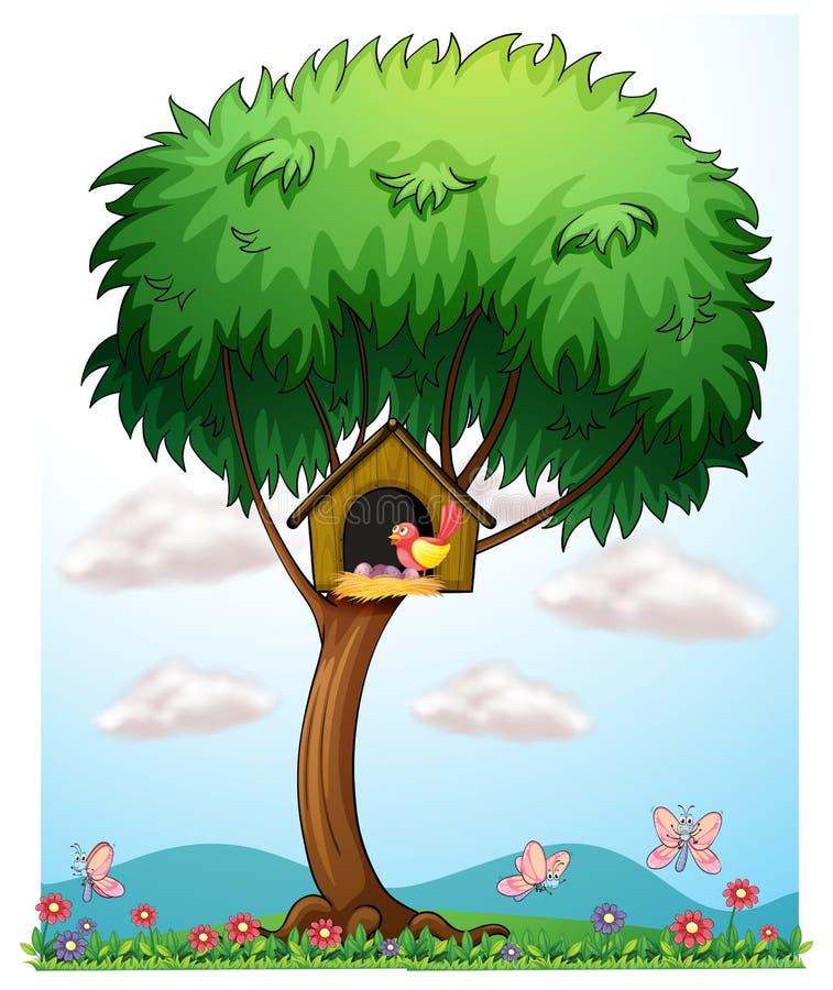 Een vogel in een boom met een vogelhuis stock illustratie