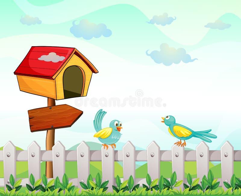 Een vogelhuis met een pijlraad en vogels boven de omheining stock illustratie