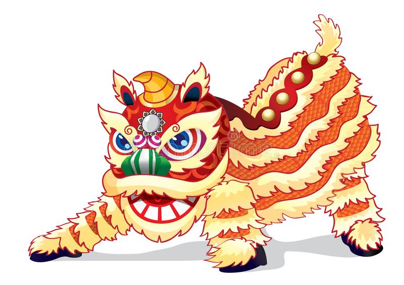 Een volledige geanimeerde Chinese leeuw is klaar hoog te springen royalty-vrije illustratie