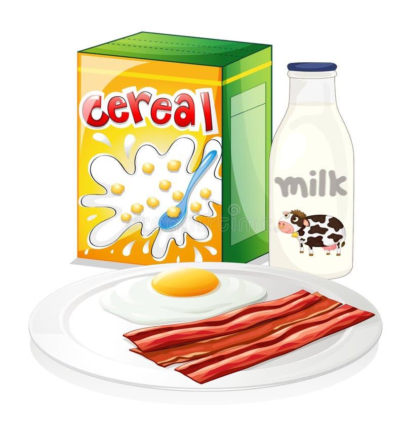 Een volledige ontbijtmaaltijd royalty-vrije illustratie
