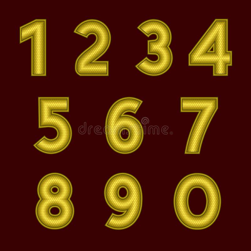 Een volledige reeks gouden aantallen met een hulpoppervlakte De randen van de aantallen worden gemaakt met dunne draad De doopvon royalty-vrije illustratie
