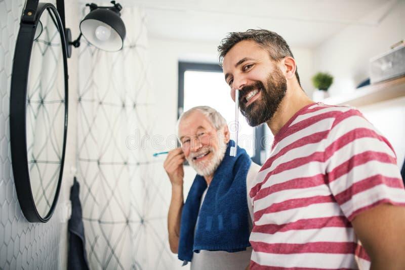 Een volwassen hipsterzoon en een hogere vader in badkamers binnen thuis, hebbend pret stock afbeeldingen