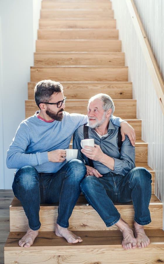 Een volwassen hipsterzoon en een hogere vaderzitting op treden binnen thuis, het spreken royalty-vrije stock afbeeldingen