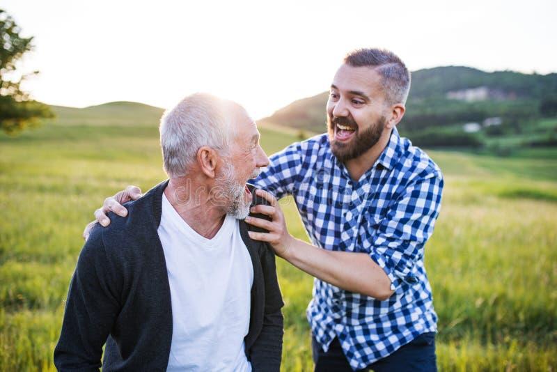 Een volwassen hipsterzoon met hogere vader op een gang in aard bij zonsondergang, die pret hebben royalty-vrije stock foto's