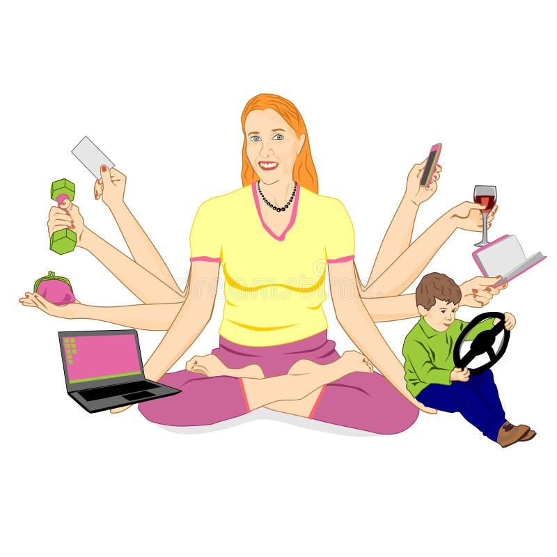 Een volwassen vrouw met acht handen zit in een lotusbloempositie en houdt diverse punten Het concept een moderne vrouw die erin s stock illustratie