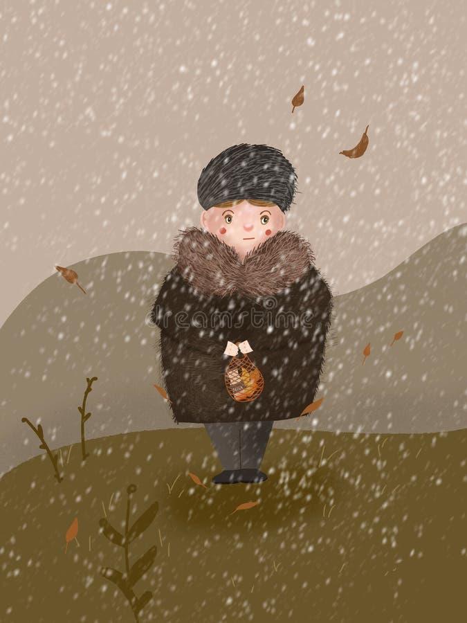Een volwassen vrouw met voedsel viel onder de eerste sneeuw royalty-vrije illustratie