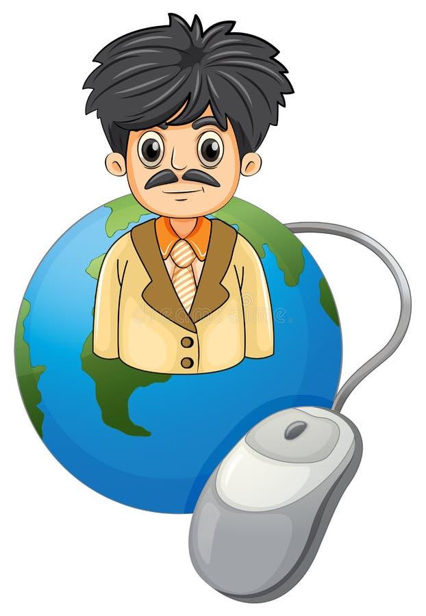 Een volwassen zakenman boven de bol met een computermuis stock illustratie