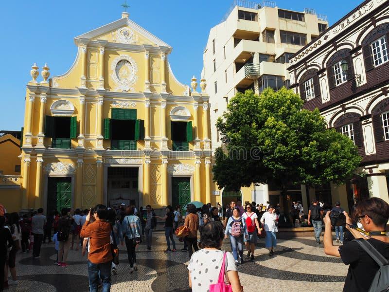 Een vooraanzicht van St Dominic Kerk in Macao royalty-vrije stock afbeeldingen