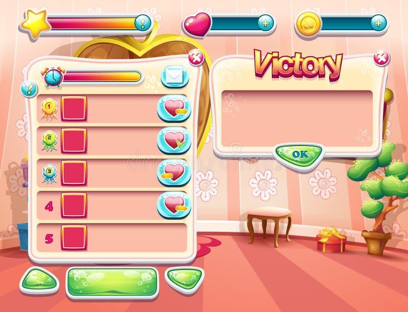 Een voorbeeld van één van de schermen van het computerspel met een ladings achtergrondslaapkamerprinses, een gebruikersinterface  vector illustratie