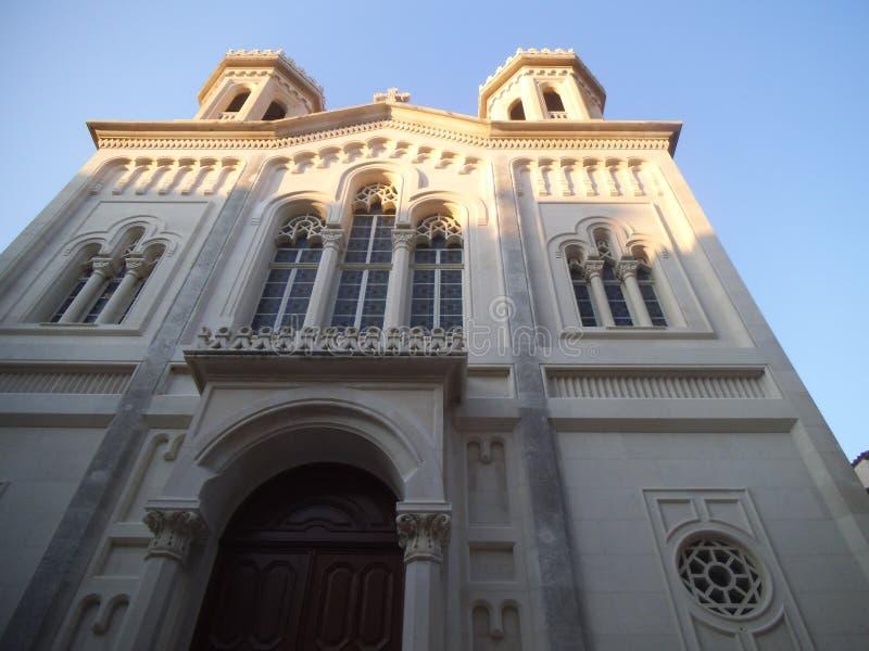 Een voorgevel van een oude kerk in Dubrovnik stock foto