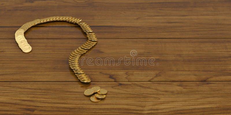 Een vraagteken gouden muntstukken aan boord van 3D illustratie royalty-vrije illustratie