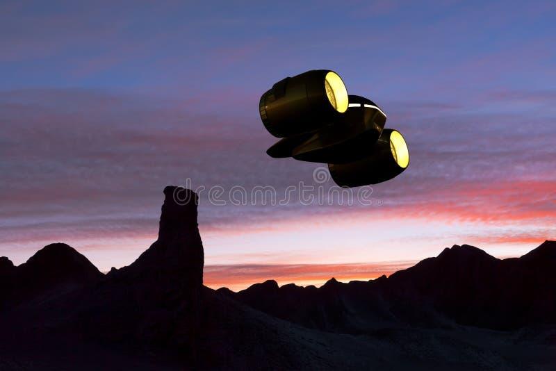 Een Vrachtschip die over een rotsachtige planeet vliegen vector illustratie