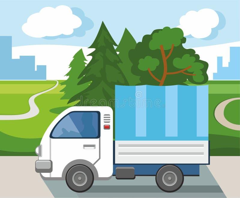 Een vrachtwagen die goederen van één stad vervoeren aan een andere vector illustratie