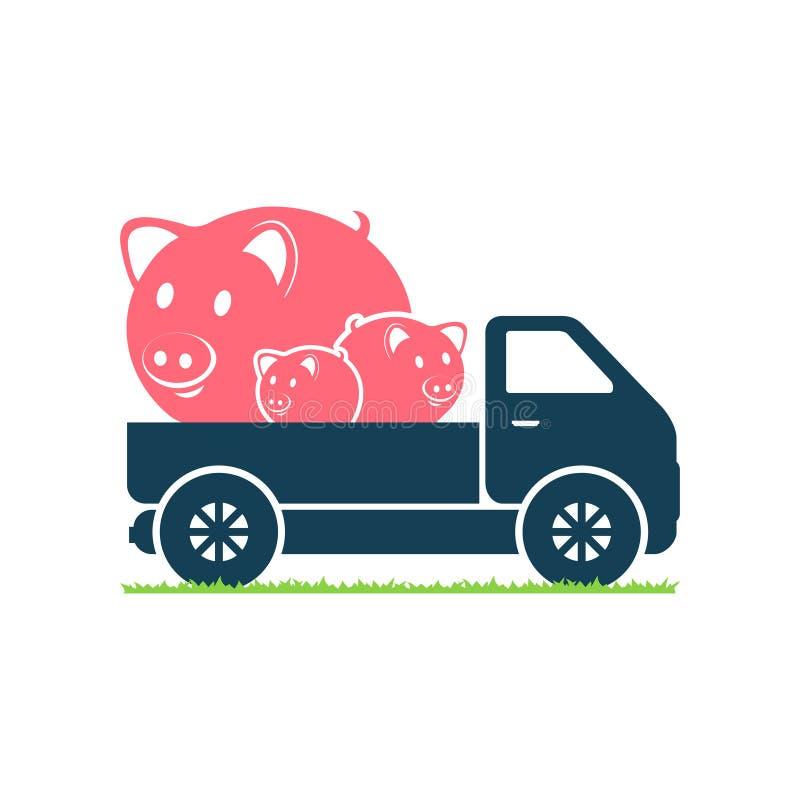 Een vrachtwagen draagt varkens stock illustratie