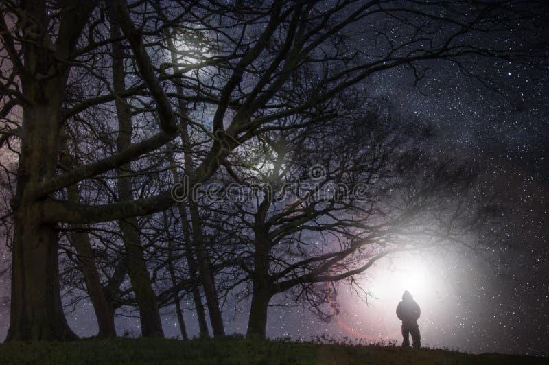 Een vreemd nachtconcept geeft uit Een griezelig cijfer die zich op de rand van bos bevinden die lichten in de hemel op een sterri royalty-vrije stock foto's