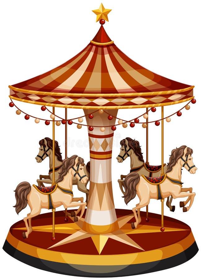 Een vrolijk-gaan-ronde met bruine paarden vector illustratie
