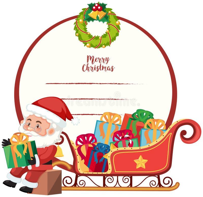 Een Vrolijk Kerstkaartmalplaatje stock illustratie