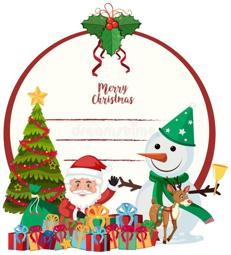Een Vrolijk Kerstkaartmalplaatje royalty-vrije illustratie