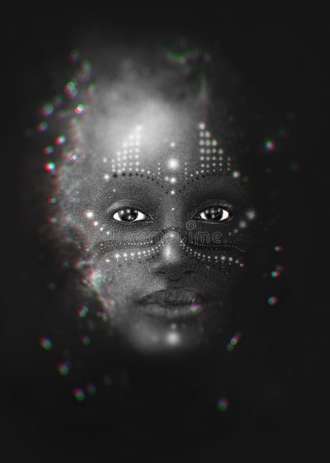 Een vrouw als microkosmos van het heelal stock illustratie
