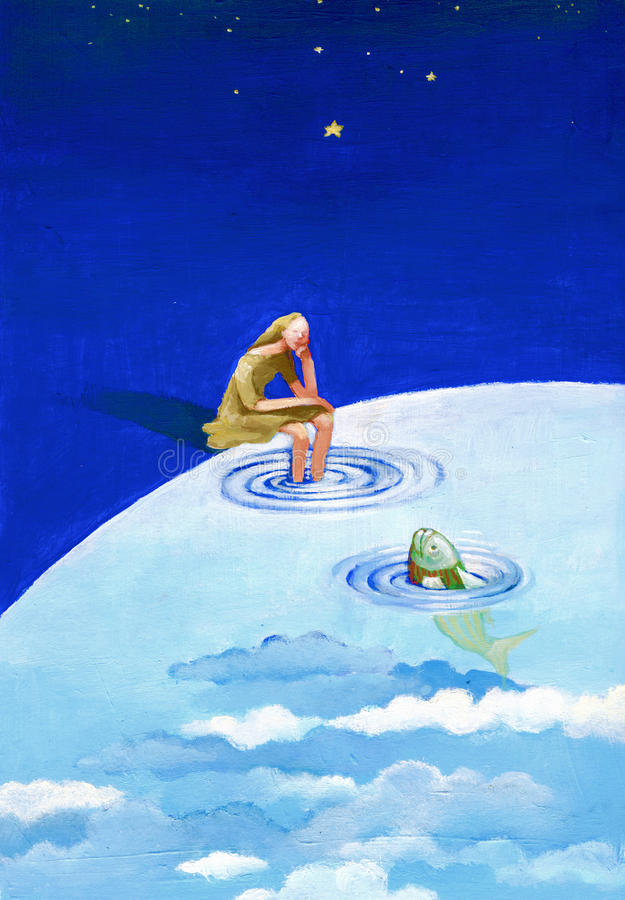 Een vrouw bekijkt een vis vector illustratie