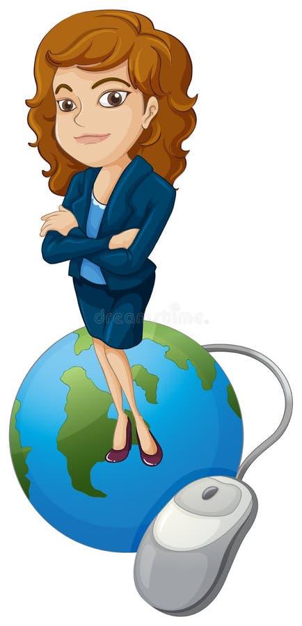 Een vrouw boven de bol met een computermuis vector illustratie