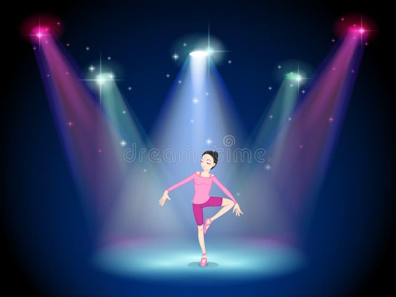 Een vrouw die ballet op het stadium met schijnwerpers uitvoeren stock illustratie
