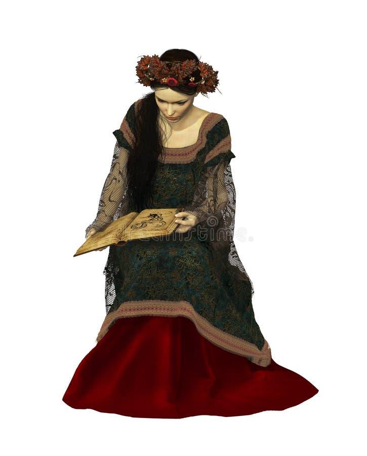 Een Vrouw die een Boek, 3d CG lezen vector illustratie