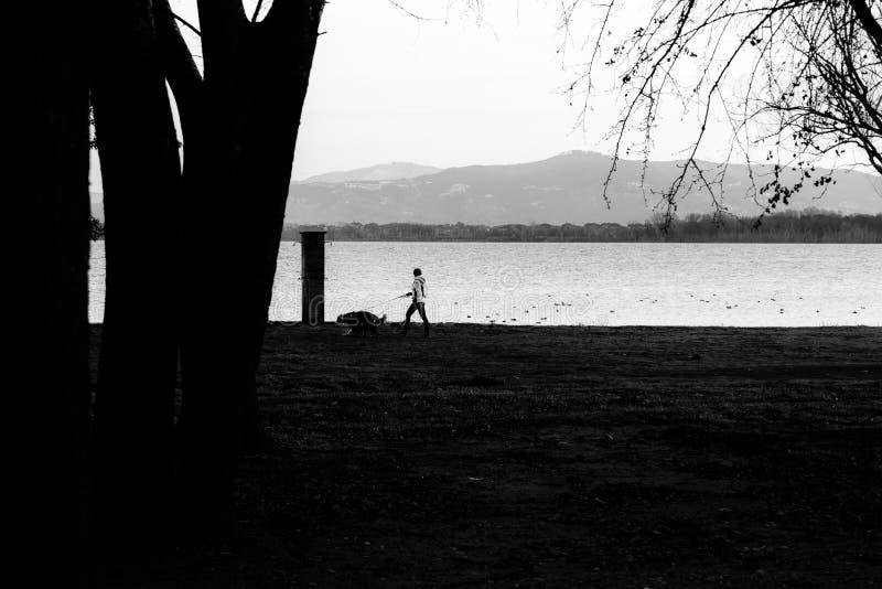 Een vrouw die een hond lopen dichtbij de kust van Trasimeno-meer Umbrië stock fotografie