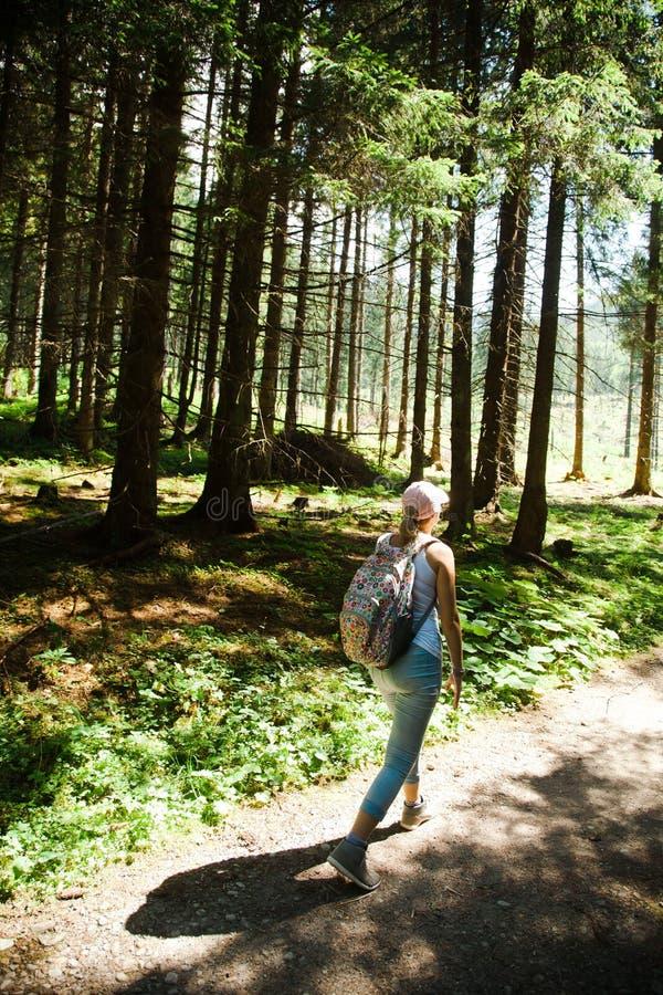 Een vrouw die op bosweg tijdens de zomerroeping lopen - houd in vorm royalty-vrije stock fotografie