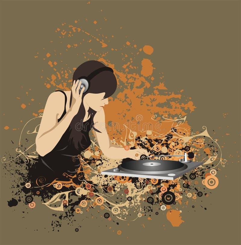 Een vrouw DJ op een bloemenillustratie vector illustratie