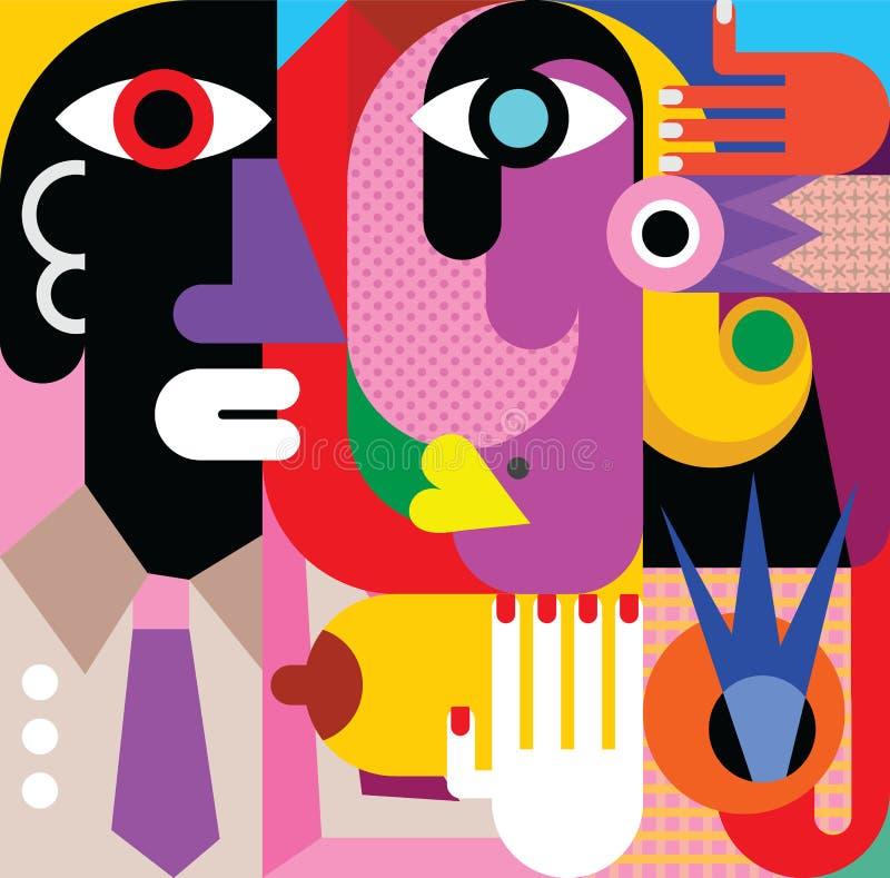 Een Vrouw en een Man vector illustratie