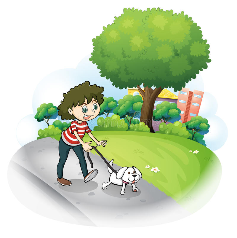 Een vrouw en haar puppy bij de straat stock illustratie
