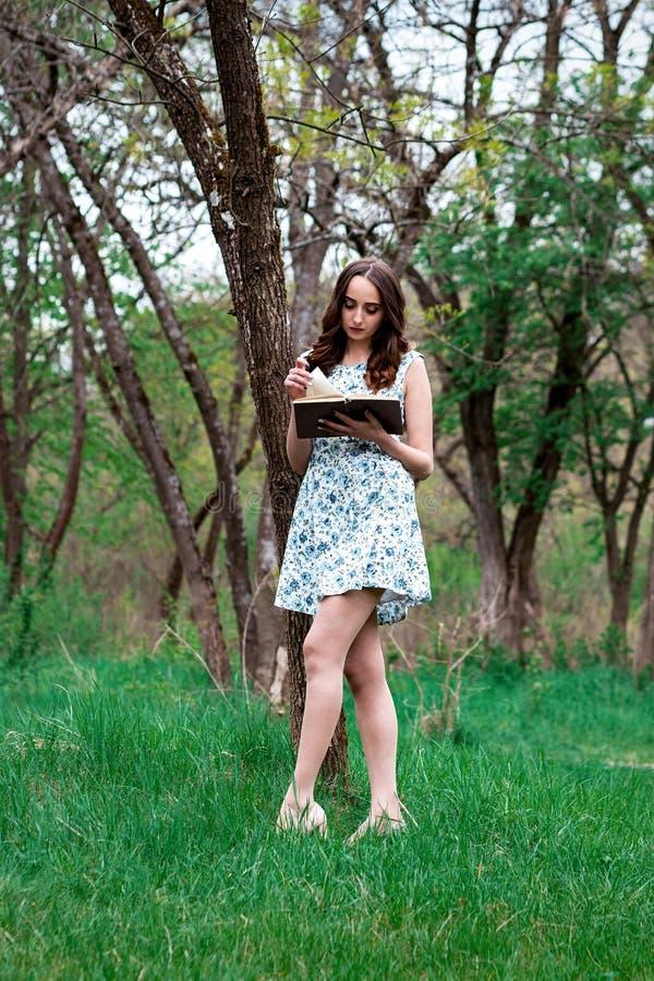 Een vrouw of een meisje in een kleding, met een boek in het park, die gereed staan royalty-vrije stock afbeelding