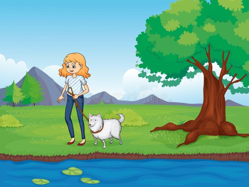 Een vrouw met een hond die langs de rivier lopen stock illustratie