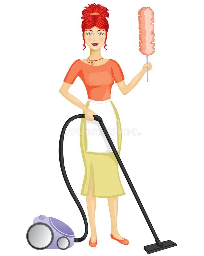 Een vrouw met een stofzuiger vector illustratie