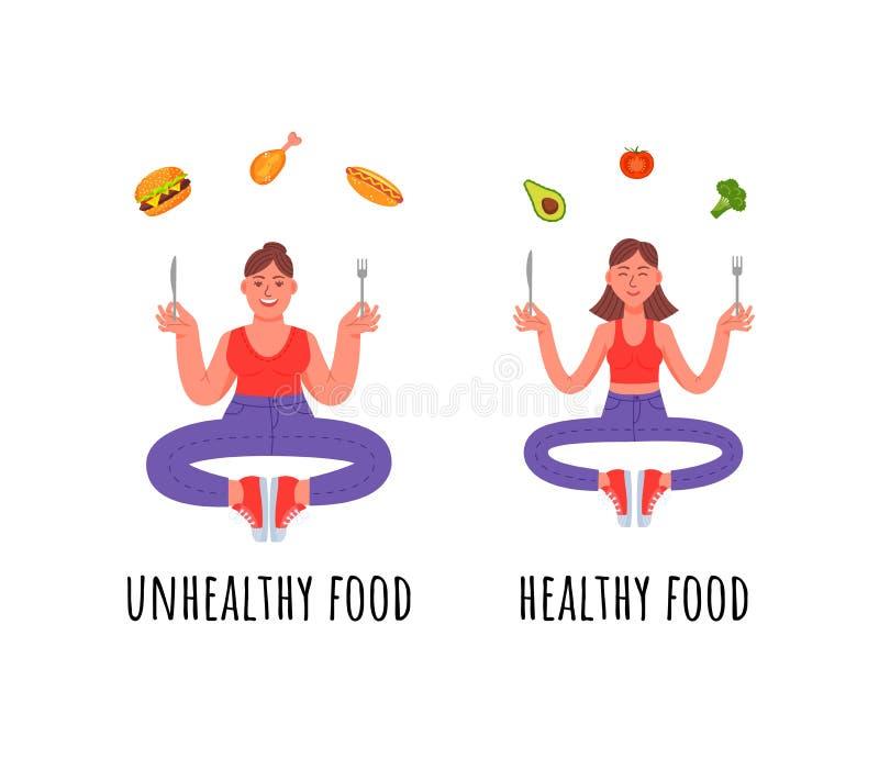 Een vrouw met een gezonde maaltijd en een vrouw met een ongezonde kost stock illustratie