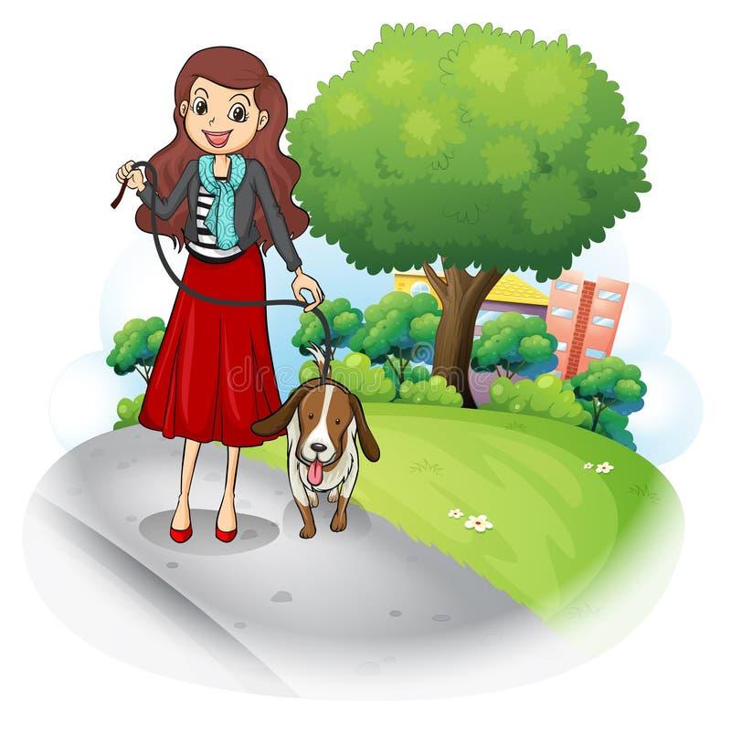 Een vrouw met haar hond bij de weg royalty-vrije illustratie